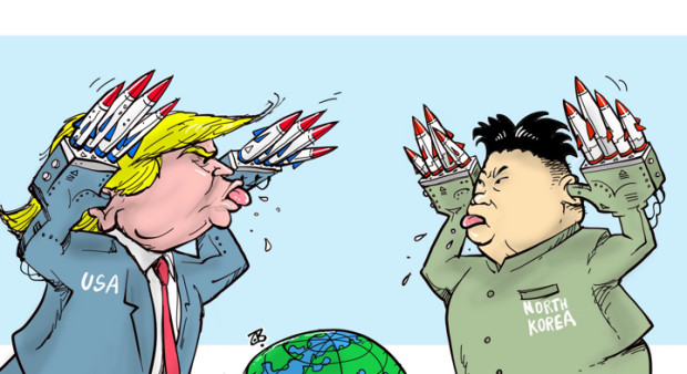 Afbeeldingsresultaat voor cartoon Trump en kim Yong-Un in Singapore