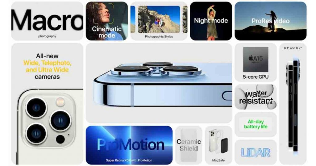 Shows a table for the features of iPhone 13